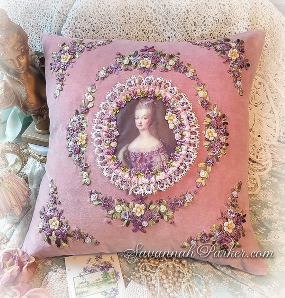 Antique Style Romantic Mauve Pink Marie Antoinette Exquisite French Rococo Pillow - Ribbonwork Embroidery - Antique Lace - Ribbon Flowers