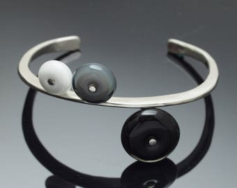 Contemporary Black and White Cuff Bracelet - glass and silver statement bracelet, handmade cuff bracelet, lampwork cuff bracelet by kpglass