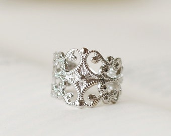 Silver Filigree Ring. Victorian Style Silver Plated Adjustable Filigree Ring, High Quality