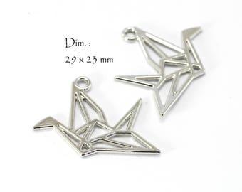 6 cranes Origami - Sun bird charms. : 29 x 23 mm - dark platinum silver color