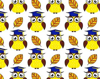 Cotton Fabric, Printed fabric, Quilting Fabric, Color Owl Fabric , Fabrics by the Yard-Half Yard