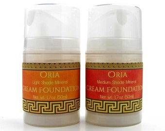 Mineral Cream Foundation by Oria, 1.7oz, mineral foundation, tinted cream, foundation with natural sun filter, tinted moisturizer, makeup