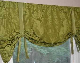 Window Treatment Tie Up Valance Toile Valance Blue And