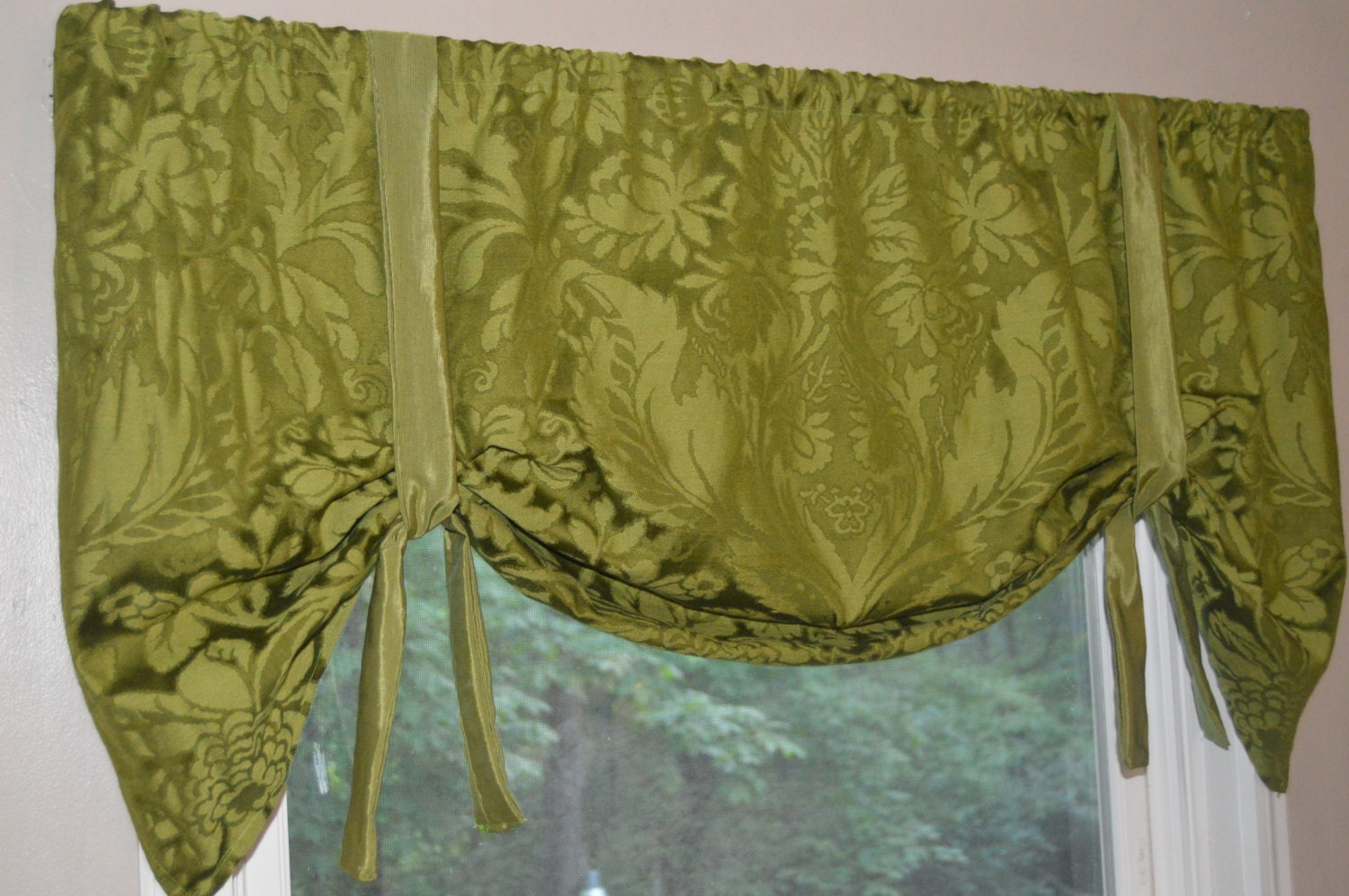 Window Treatment Tie Up Valance Green Window Valance Olive