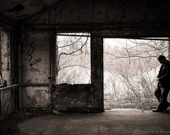 February, Abandoned Old Building, Self Portrait, Graffiti, Black and White, Sepia Toned, Photography Print, Signed, Free Shipping