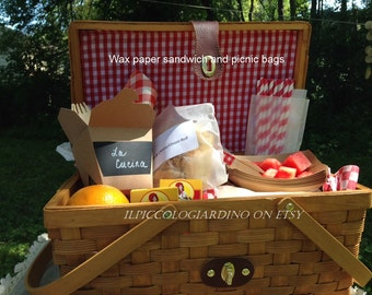 Waxed Paper Sandwich Bags Picnics Lunches Food Safe Snacks Backyard parties, garden parties, receptions, Favor Bags Storage