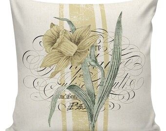 Easter Pillows, Daffodils, Spring Pillows, Throw Pillow Covers, Daffodil, Botanical Print, Burlap, Cotton,Spring Throw Pillow Covers #SP0212
