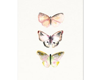 Butterfly Print. Pink & Gray Watercolor Butterfly Art Print. Soft Pink Butterfly Art. Watercolor Butterfly Poster. Modern Nursery Art.