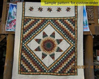 Amish Quilts, Amish Patterned quilt, Autumn Star Quilt, Handstitched, Patchwork, Earth tone, Homemade quilt, Handstitched, beige, tan, brown
