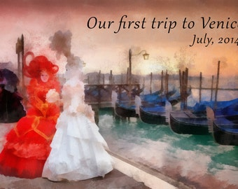 Custom Painting, Our First Trip, Honeymoon, Digital Watercolor Painting from photo, Free Shipping!
