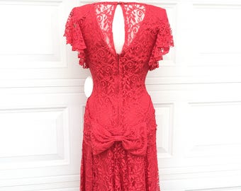 Vintage 1980s NOS all lace red bow asymmetric hem illusion cocktail prom party dress size XS
