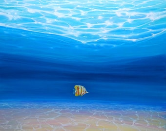LARGE ORIGINAL Oil Painting - Starting Again - a solo fish under a blue ocean
