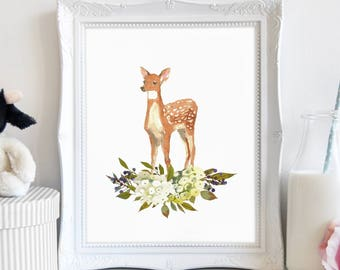 Baby Deer Wall Art, Deer Wall Art, Deer Wall Print, Above Crib, Forest Animals, Above Bed Art, Digital Download, Printable Art, Baby Girl