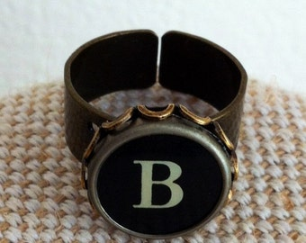 Initial ring / typewriter key ring / your initial in a bronze tone ring / monogram ring / custom made ring