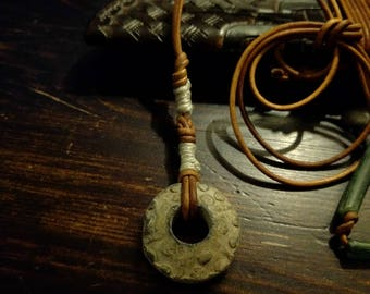 Medieval lead Roman spindle whorl pendant necklace