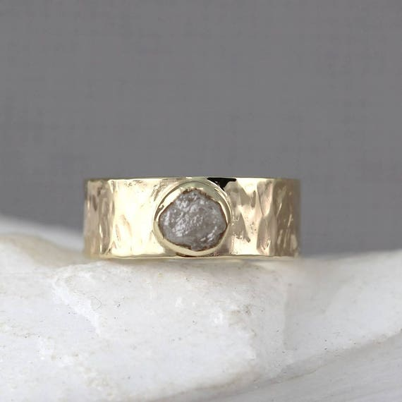 Rustic Diamond: Raw Diamond Ring 14K Yellow Gold Rustic Hammered Style