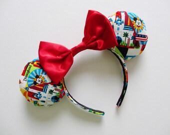 Disneyland Colorful Print Mouse Ears Headband