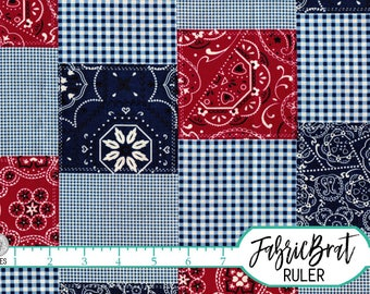 RED & BLUE BANDANA Fabric by the Yard Fat Quarter Bandanna Fabric Michael Miller Fabric Apparel Fabric 100% Cotton Fabric Quilt Fabric t4-22