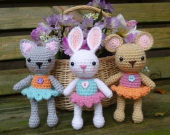 Pocket Pets Crochet Pattern, Baby Mouse, Rabbit and Cat - Amigurumi Crochet Pattern
