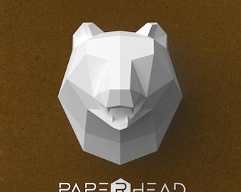 Paper head bear | Template | PDF | Polygonal animal | Low-poly |