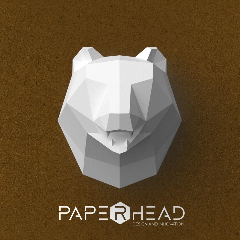 Cabeza de oso de papel Plantilla PDF Poligonal animal