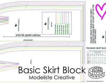 Basic Blocks- For Pattern Cutters- Design Your Own Patterns! SKIRT BLOCK- 6 -18 - Comes With U.K. & U.S.A and E.U. Size conversions.