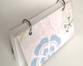 SALE ITEM Mini Note Book / Cherry Blossom / Ring Binder notebook / Japanese / Pale Pink / Pale Blue / Floral Pattern/ Reversible Cover