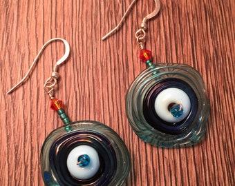 Light blue handmade lampwork earrings