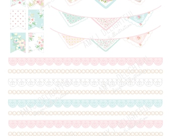 Printable Vintage Lovelies Planner stickers!-Digital File Instant Download-flags,hankie bunting, florals, shabby chic, bible journaling