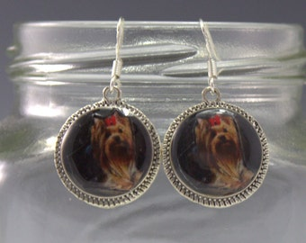 Yorkie Earrings Yorkshire Terrier Dog Puppy 3D Picture Jewelry Silver in 3D Dimensional Red Bow