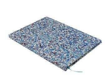 Handbound hardcover journal, blue swirl, food, 80 sheet, college rule