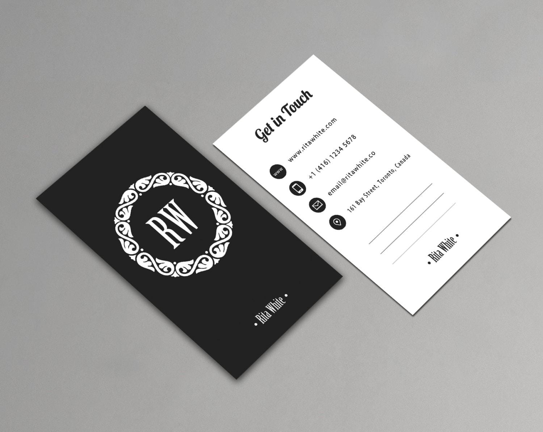 Vertical business card template printable minimalist zoom wajeb Choice Image