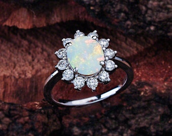 Opal Engagement Ring, Oval Opal Engagement Ring, Princess Diana Oval Opal Halo Engagement Ring, Princess Diana Engagement Ring, Opal Halo