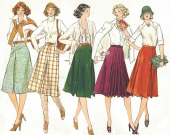 70s Womens A Line Skirt Classic Skirt with Variations Vogue Basic Design Sewing Pattern 1297 Size 12 Waist 26 1/2 Hip 36 UnCut