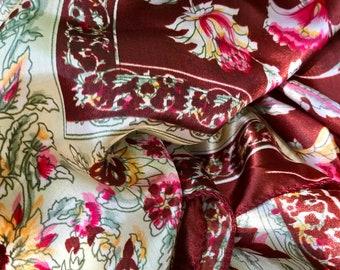 Vintage vivid earthy Floral scarf 90's large silky flowers 1990's flower shimmer marsala hot pink sage ochre