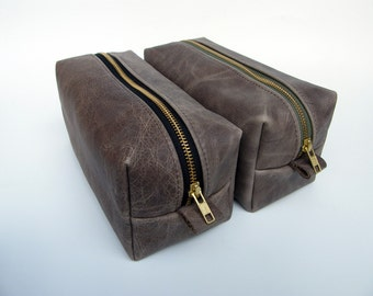 Leather Dopp Kit / Leather Pouch /Travel Kit / Male Gift/  Genuine Leather with Custom Zipper