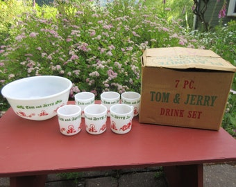 Vintage Tom and Jerry Christmas Milk Glass Punch Bowl Drink Set by Hazel Atlas in Original Box Never Used 7 Piece Set
