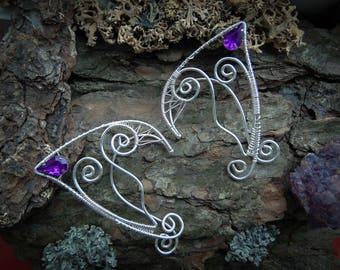 Elf ears, Fantasy elf ear cuffs,  Elven ear earrings, Elvish ears, Non-piercing earring, Elven jewelry, ear wraps, Silver elf ear cuffs