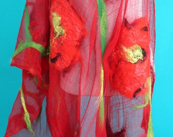 Red Felted scarf Nuno felted shawl  scarf red poppies