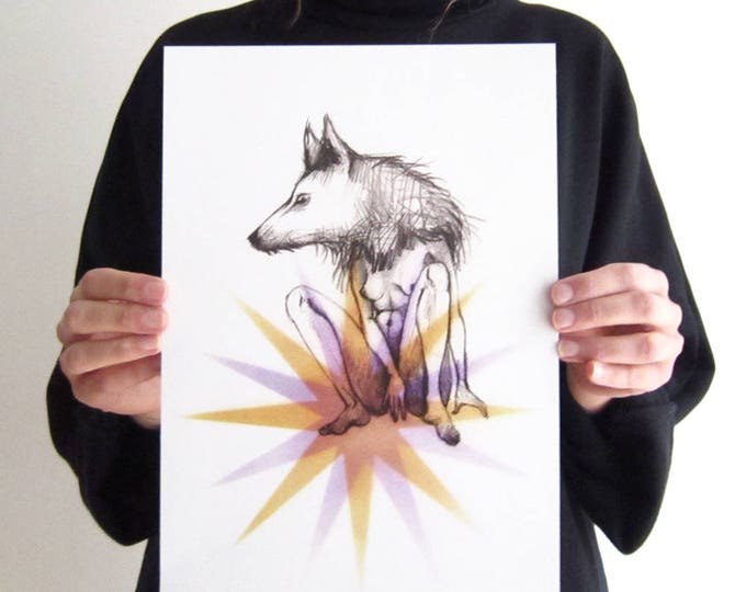 Wolf woman illustration on color stars, A4 digital print on recycled paper