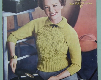 Vintage Knitting Pattern 1940s 1950s Women's Sweater / Jumper with small collar 40s 50s original knitting pattern Sirdar No. 1586 UK