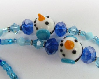 Blue Snowman Themed ID Lanyard, Winter, Snow, Handmade by Harleypaws, SRAJD