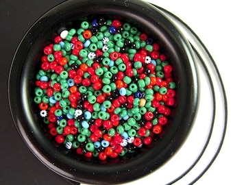 UNIQUE Vintage Turquoise Coral Glass Seed Bead Mix, 11/0, 2.1mm, Old Czech Glass, Tiny Vintage Seed Beads, Vintage Seedbeads Mix CV190