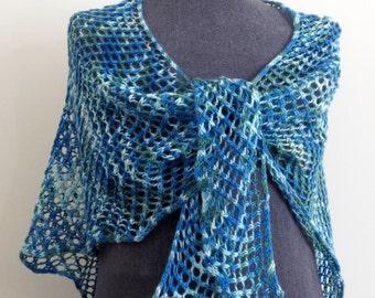 Ladies Triangular Shawl Scarf, Womens Summer Wrap, Ladies Boho Shawl, Ladies Fashion Scarf, Blue and Green Womens Lace Neck Scarf