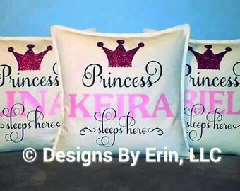 """Personalized """"Princess Sleeps Here"""" down pillow"""