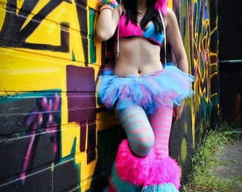 Peek a boo mini hot pink and turquoise tutu skirt Adult go go dance run roller durby -- You Choose Size -- Sisters of the Moon