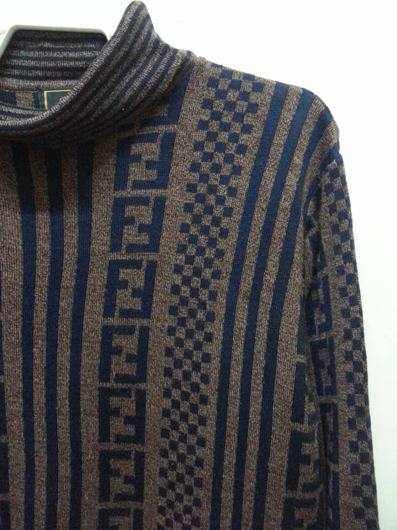 Sweatshirt Neck Vintage Jumper 90s sweater pullover Size FENDI Turtle Medium xq04qwX