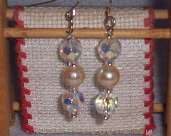 Two Crystals With White Pearl Drop Earrings. Free Shipping