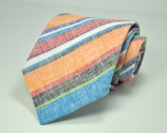 Striped Linen Men's Necktie - Orange, Blue, Green, Purple Stripes