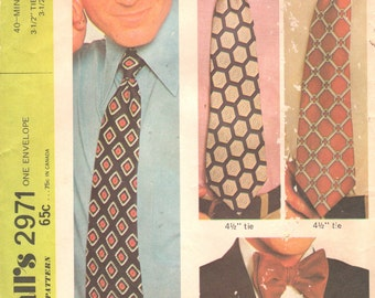 McCalls 2971 1970s Easy 40 Minute Mens Neck Ties  Bow Tie Pattern Adult Teen  Sewing Pattern